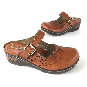 L'Artiste Aneira Brown Leather Mule Clogs Size 8.5